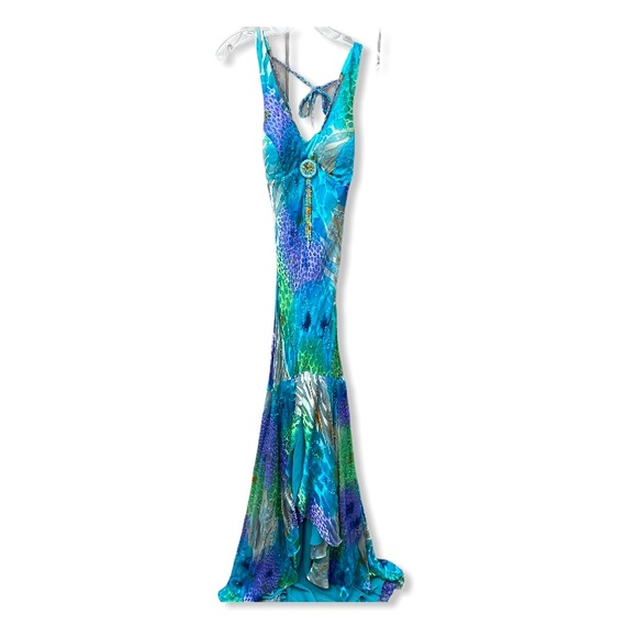 Paris Connection Silk Beaded Gown